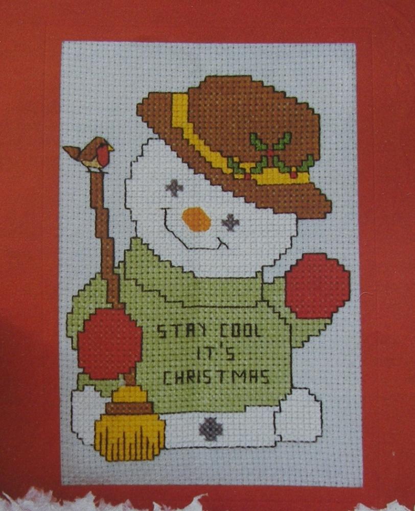 Christmas Snowman Card ~ Cross Stitch Chart