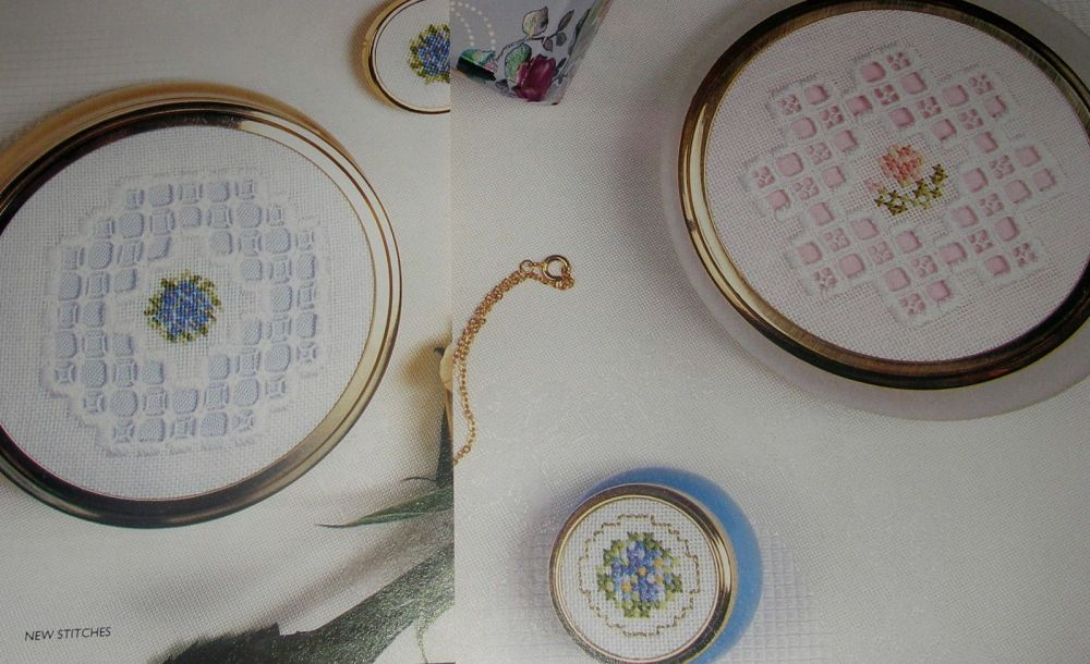 Hardanger & Petit Point Trinket Pot Lids ~ Embroidery Patterns