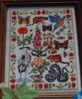 Summer Animal, Birds, Plants & Insects Sampler ~ Cross Sttich Chart