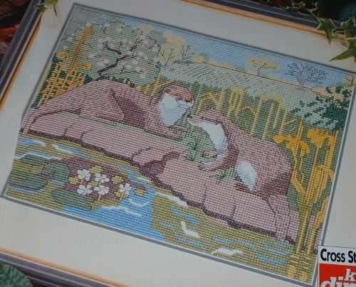 Otters Playing On Stones ~ Cross Stitch Chart