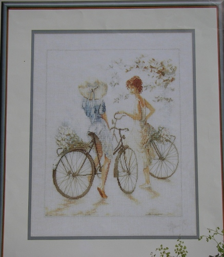 Lanarte: Girls on Bicylces 33788 ~ Cross Stitch Chart ONLY
