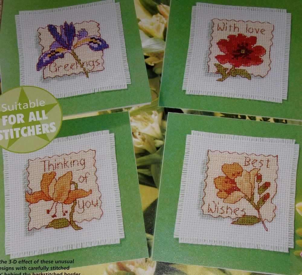 Four Floral Greetings Cards ~ Cross Stitch Charts