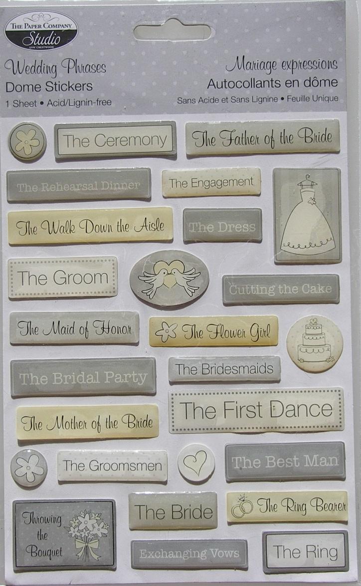 The Paper Company Studio ~ Wedding Phrases Dome Stickers