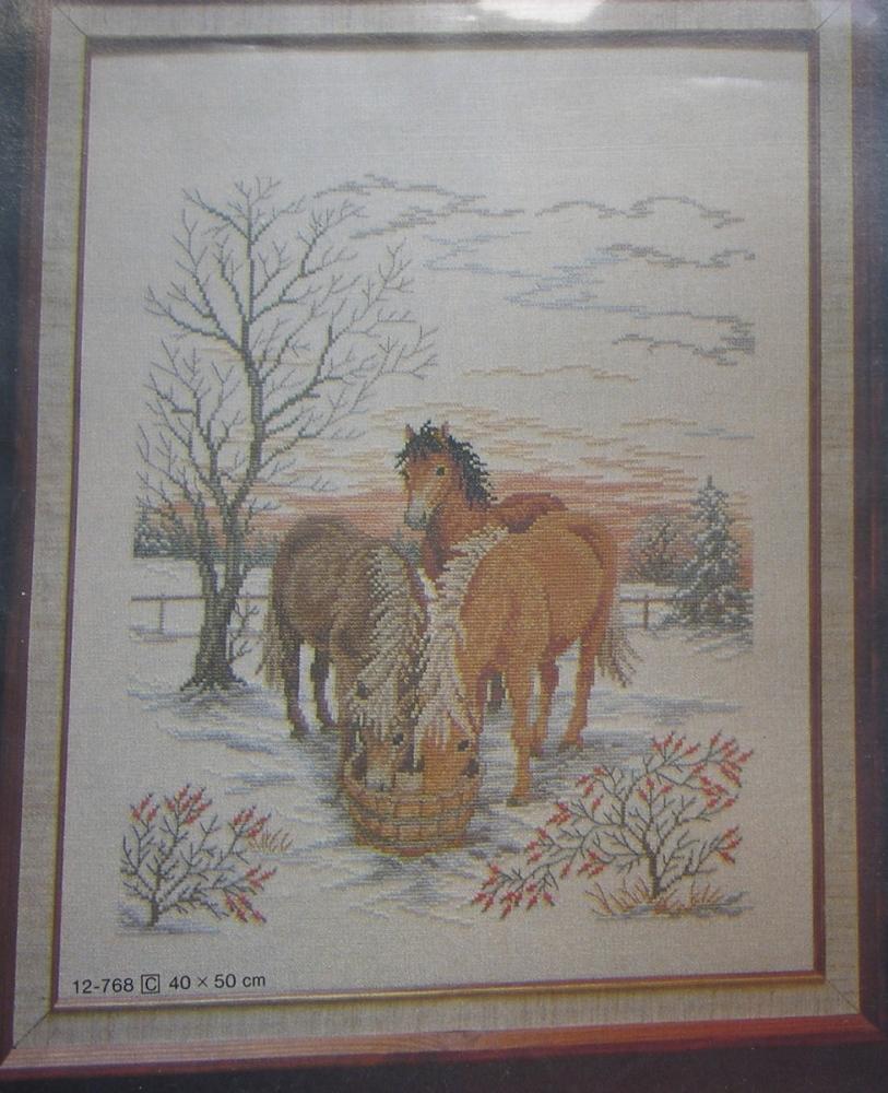 Eva Rosenstand: Horses In The Snow 12-768 ~ Cross Stitch Kit