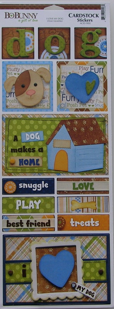 Bo Bunny: Pet Shop I love My Dog ~ Cardstock Stickers