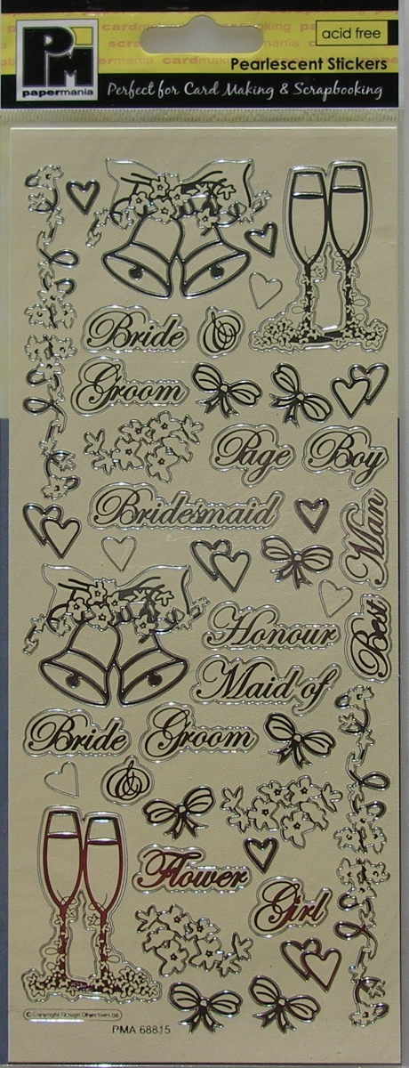 Papermania ~ Pearlescent Champagne & Bells Wedding Stickers