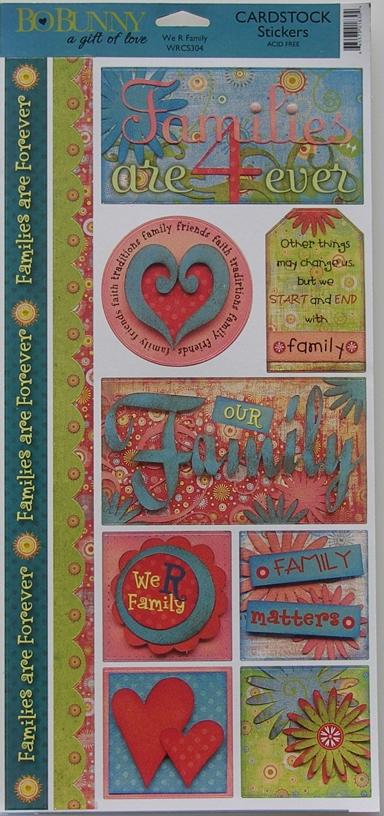 Bo Bunny: Organic We R Family ~ Cardstock Stickers