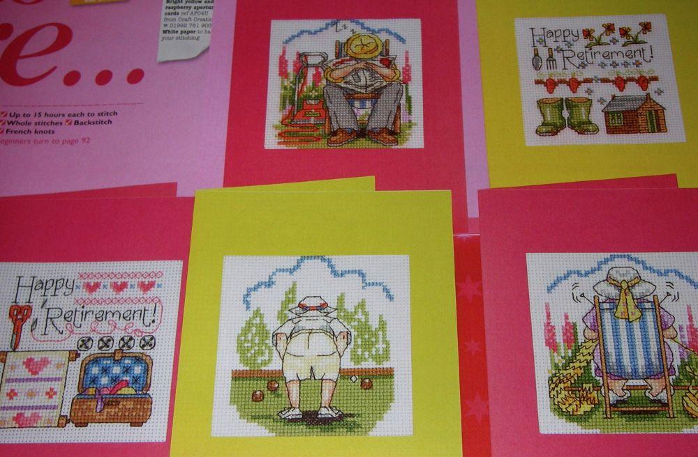 Retirement/Hobby Cards ~ Six Cross Stitch Charts