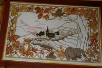 Autumnal Nocturnal Animal Village Scene ~ Cross Stitch Chart