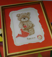 Popcorn Bear with Heart Card ~ Mini Cross Stitch Kit