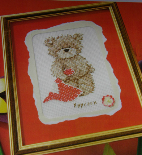 Popcorn Bear with Heart Card ~ Cross Stitch Kit