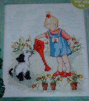 Girl Watering Garden ~ Cross Stitch Chart