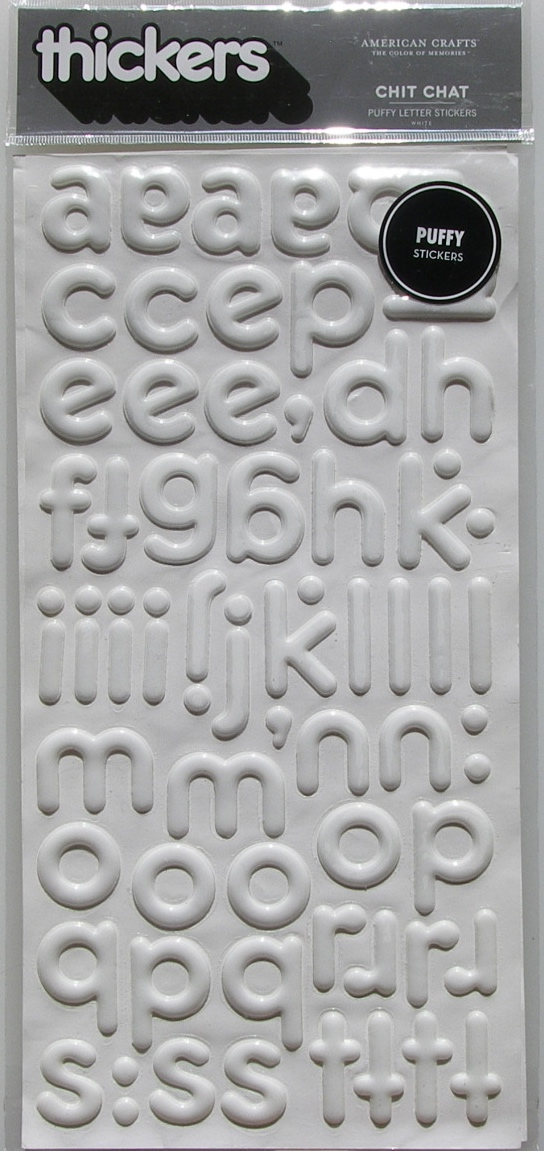 American Crafts : Chit Chat Puffy Letter & Number Stickers ~ White