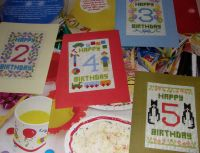 Numbered Birthday Cards ~ Five Cross Stitch Chart