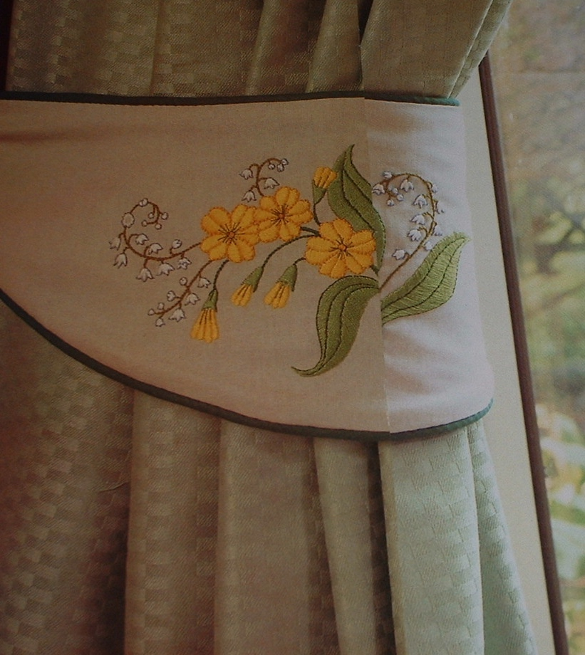 Lily of the Valley & Cowlip Embroidered Tie Backs ~ Pattern