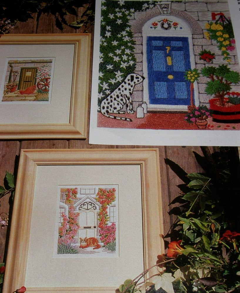 Pets at the Front Door ~ Three Embroidery Patterns