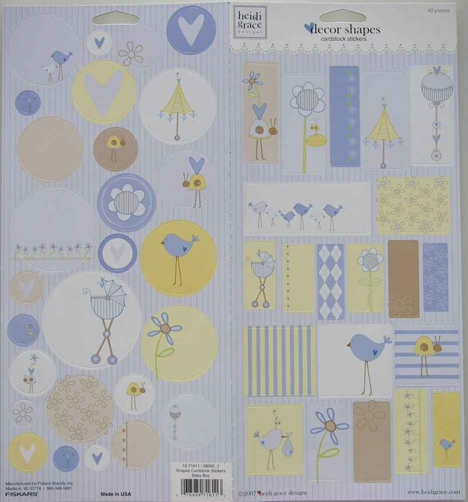 Heidi Grace: Baby Boy Decor Shapes ~ Cardstock Stickers
