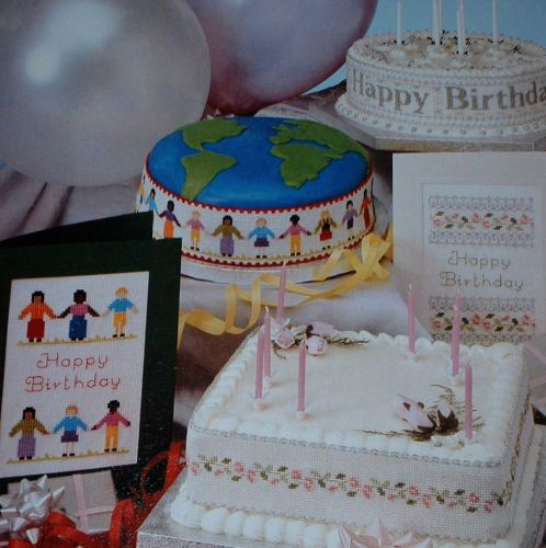 Birthday Cakebands & Cards ~ FIVE Cross Stitch Charts