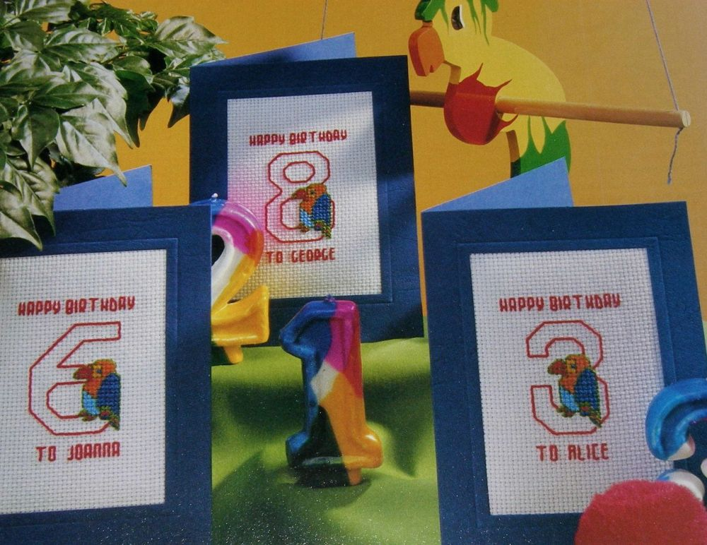 Numbered Birthday Cards with Parrot ~ Cross Stitch Charts