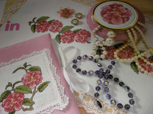 Camellia Flower Gift Set ~ Three Cross Stitch Charts