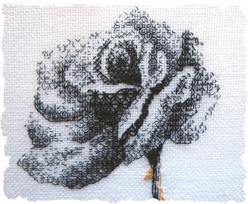 blackwork rose detail edged