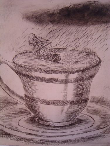 Storm in a teacup - etching