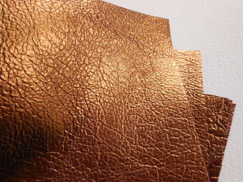 Kid leather squares, metallic finish - 10cm2 - Copper