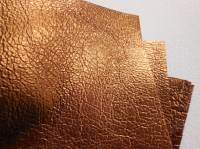 Leather squares, metallic finish - 10cm x 10cm - Copper