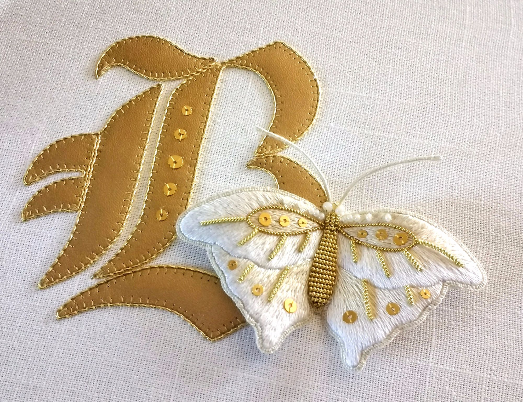 B for butterfly silk and gold
