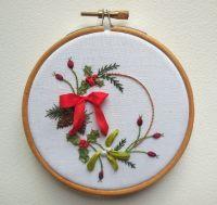 Ribbonwork feastive wreath framed