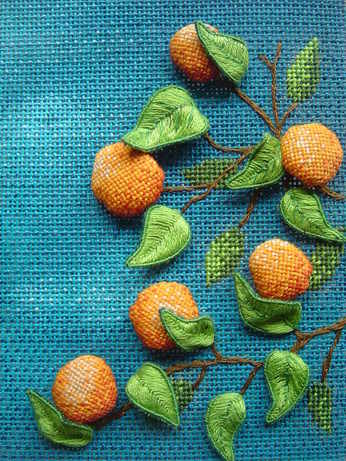 Oranges in Stumpwork