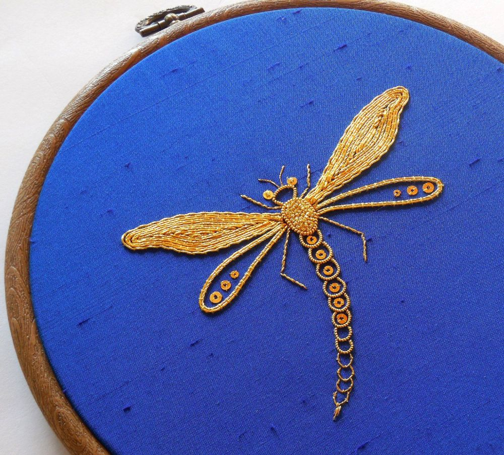 'The damsel fly' goldwork embroidery kit