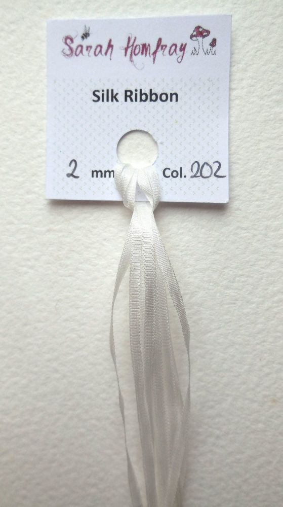 White 2mm 202 silk ribbon