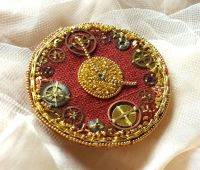Steampunk clock badge 1