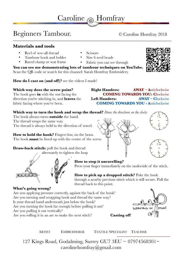 Caroline's beginner's tambour worksheet
