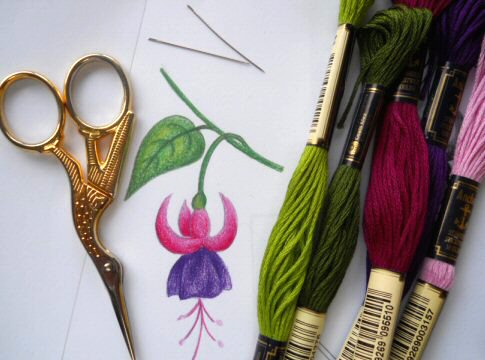Silk shaded Fuchsia design
