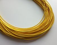 Metal purl wire, 1.3mm, deep yellow gold colour - 50cm