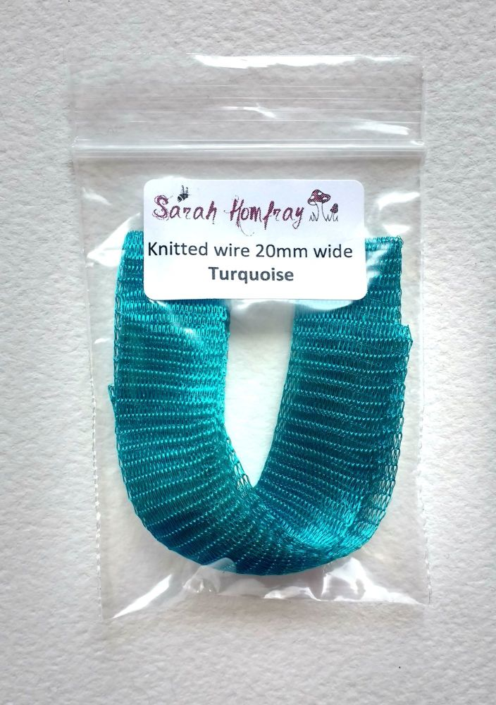 Knitted wire - 50cm length, Turquoise