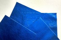 Leather squares, metallic finish - 10cm x 10cm - Bright Blue