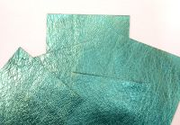 Leather squares, metallic finish - 10cm x 10cm - Sea Green