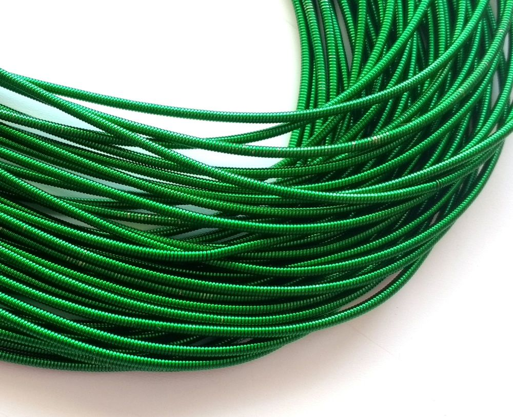 Metal purl wire, 1.2mm, grass green colour - 50cm