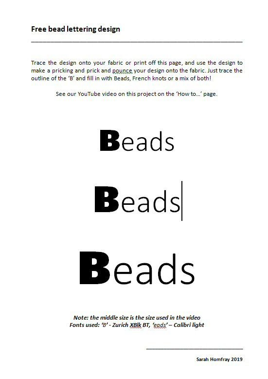 'Beads' lettering template