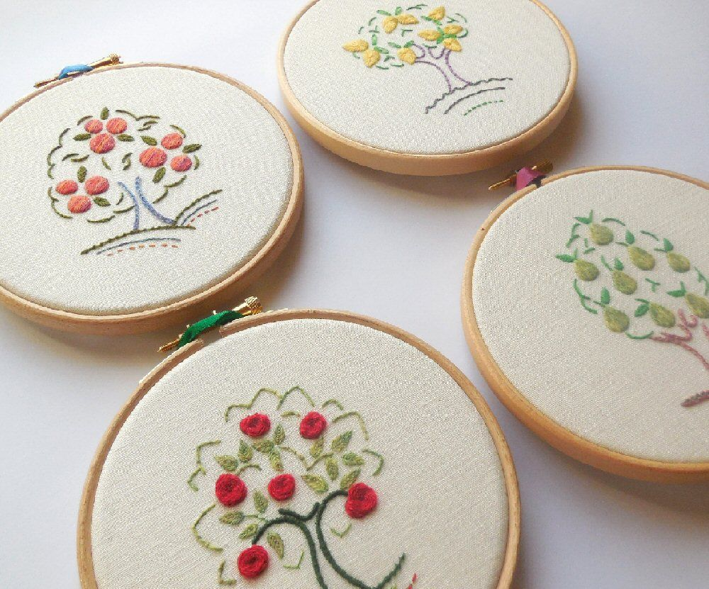 Crewelwork fruit trees
