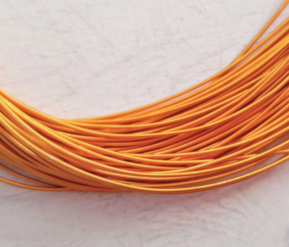 Metal purl wire, 1mm, Orange colour - 50cm