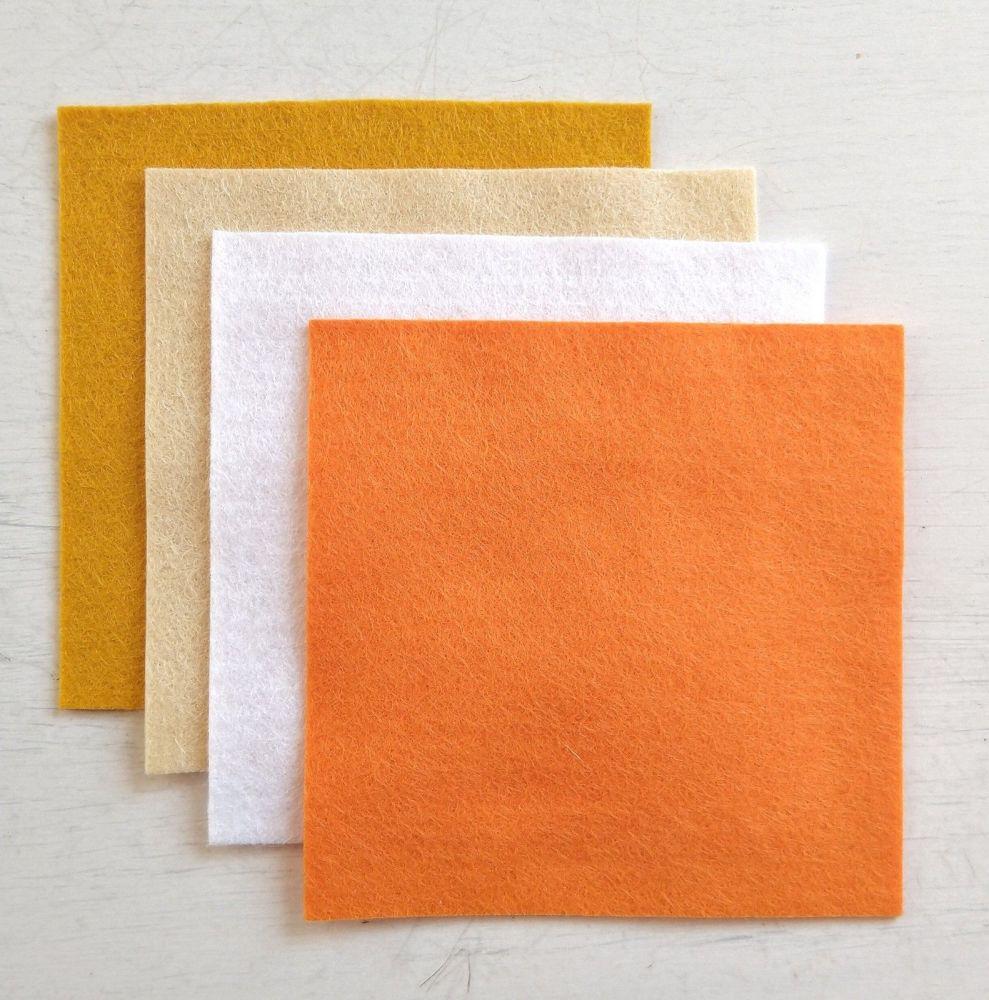 Felt square 10cm x 10cm Copper