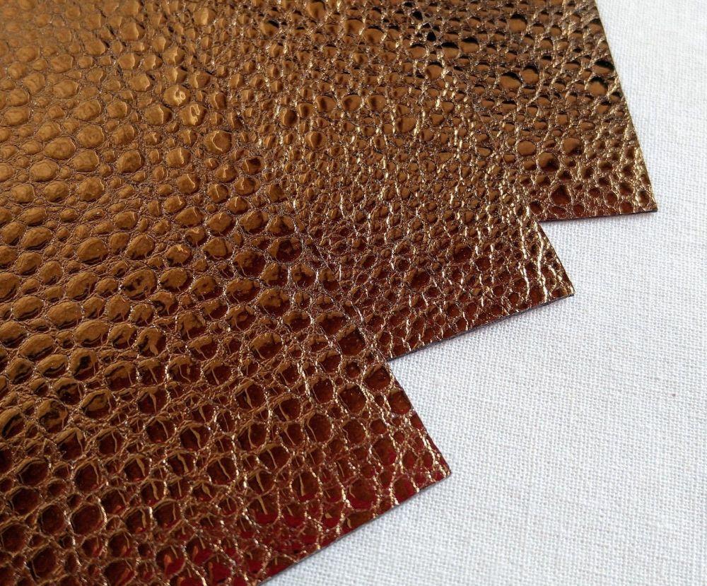 Leather squares, metallic finish - 10cm2 - Copper Bubble