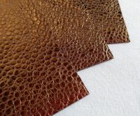 Leather squares, metallic finish - 10cm2 - Copper Bubble