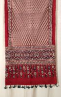 Genuine Ajrakh hand block printed stole - Red and light blue (2)