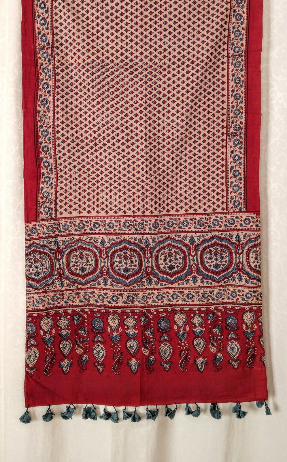 Genuine Ajrakh hand block printed stole red (2)