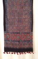 Genuine Ajrakh hand block printed stole - Dark blue, light blue and red (4)